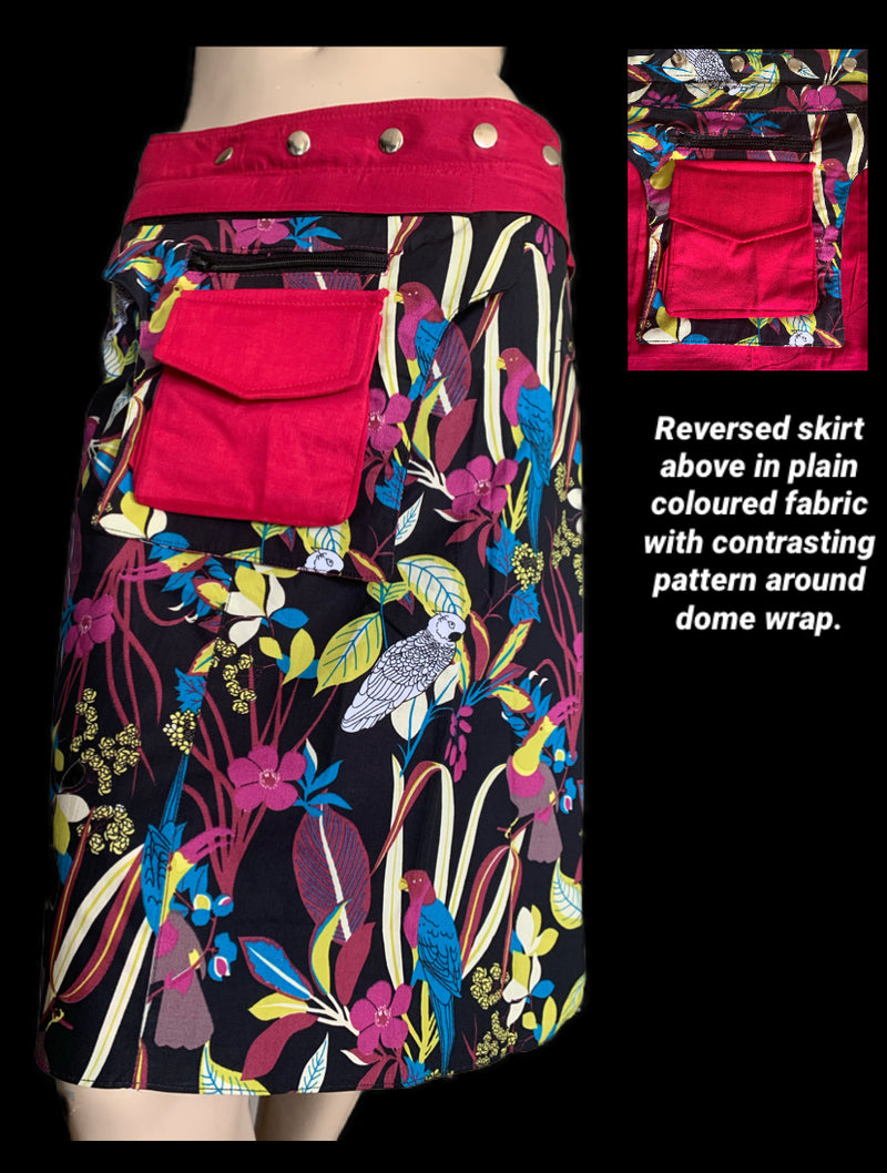 Miss Garden of Parrots Crimson Reversible Wrap Skirt - Length 23""
