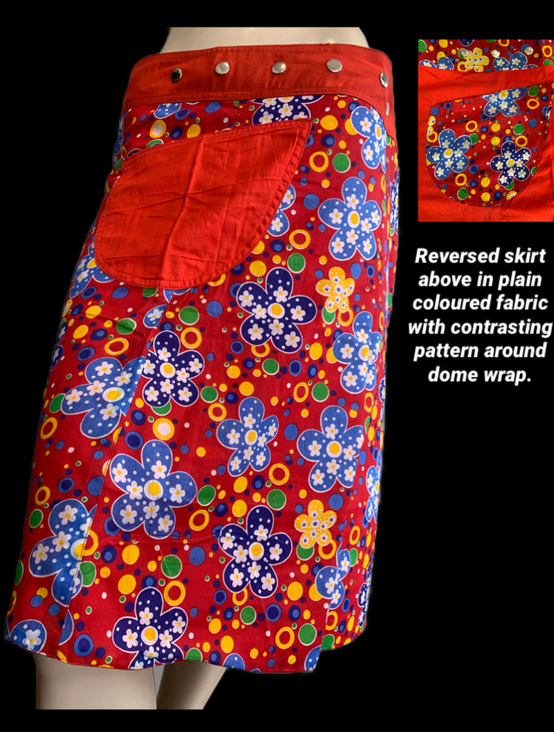 Miss Bubbles of Fun Reversible Wrap Skirt - Length 23""