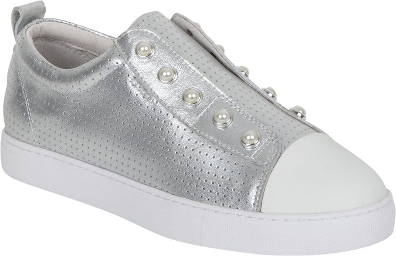 PEARL SHOE (PERFORATED) - SILVER WHITE TOE