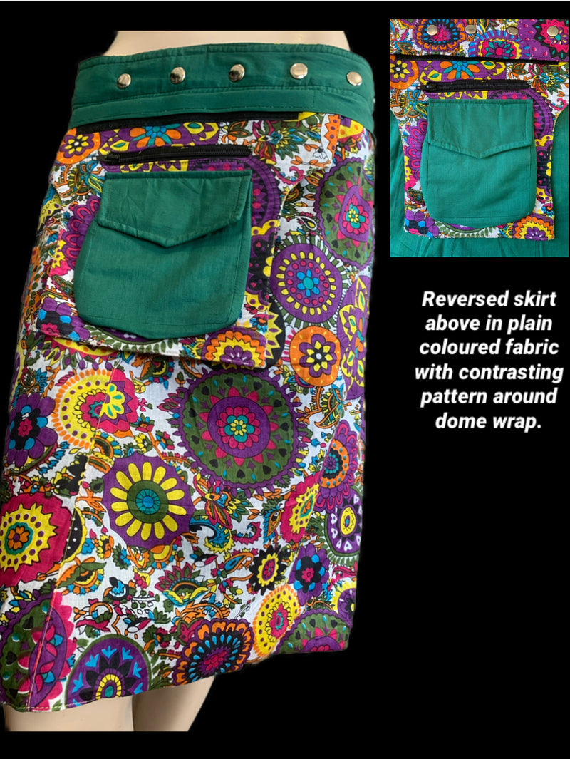 Miss Flower Power Dark Green Reversible Wrap Skirt - Length 23""