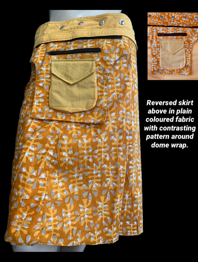 Miss Goldy Reversible Wrap Skirt - Length  23""