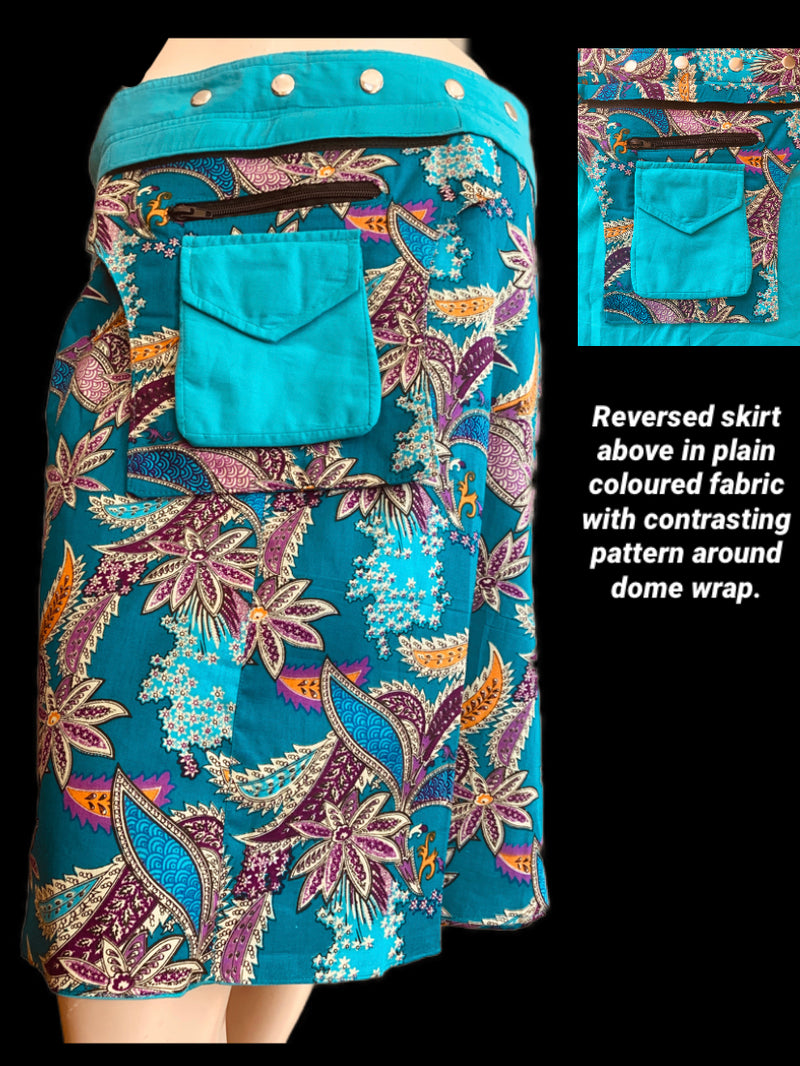 Miss Native Teal Reversible Wrap Skirt - Length 23""