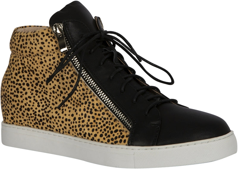 MEMPHIS SHOE - BLACK/LEOPARD PONY