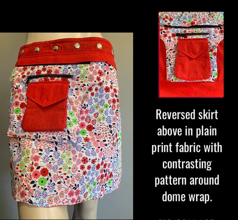 Miss Cheeky Reversible Wrap Skirt - Length  17""