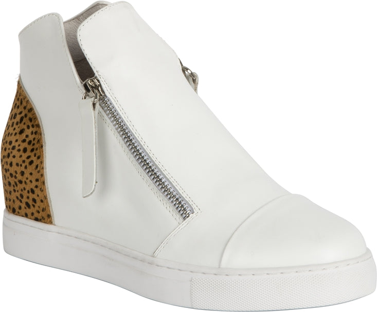MOSELLE SHOE - WHITE/LEOPARD PONY