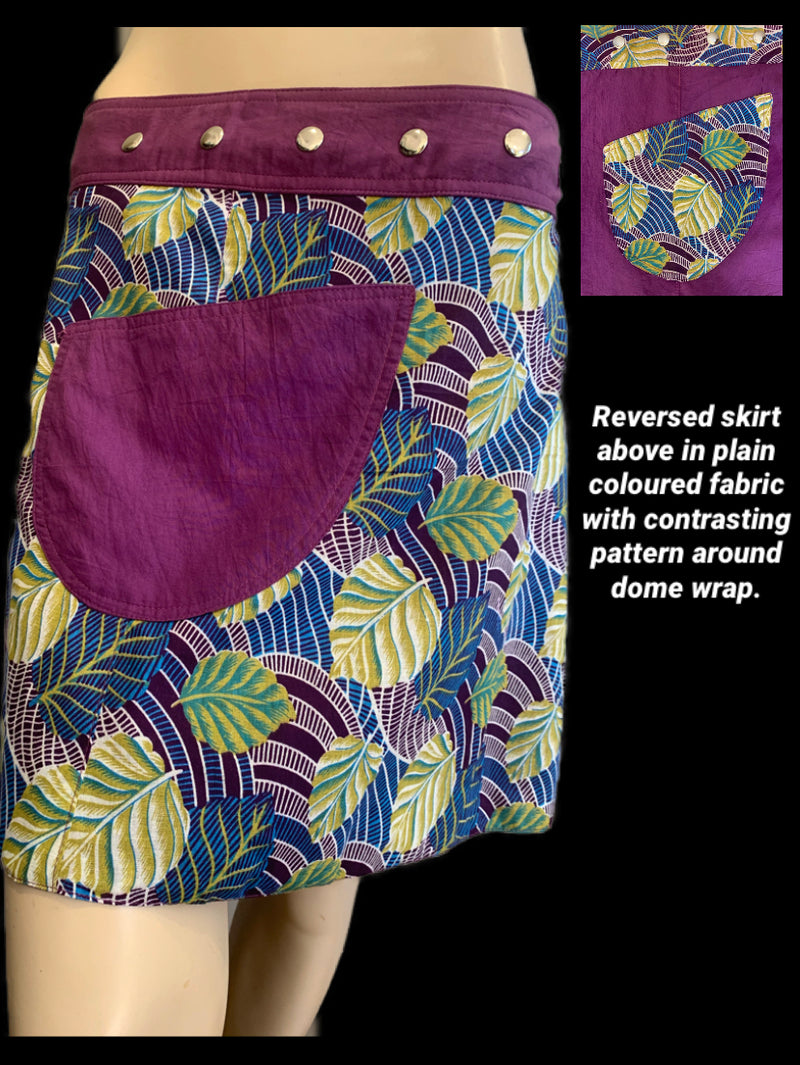 Miss Autumn Purple Sissy Reversible Wrap Skirt - Length 17""