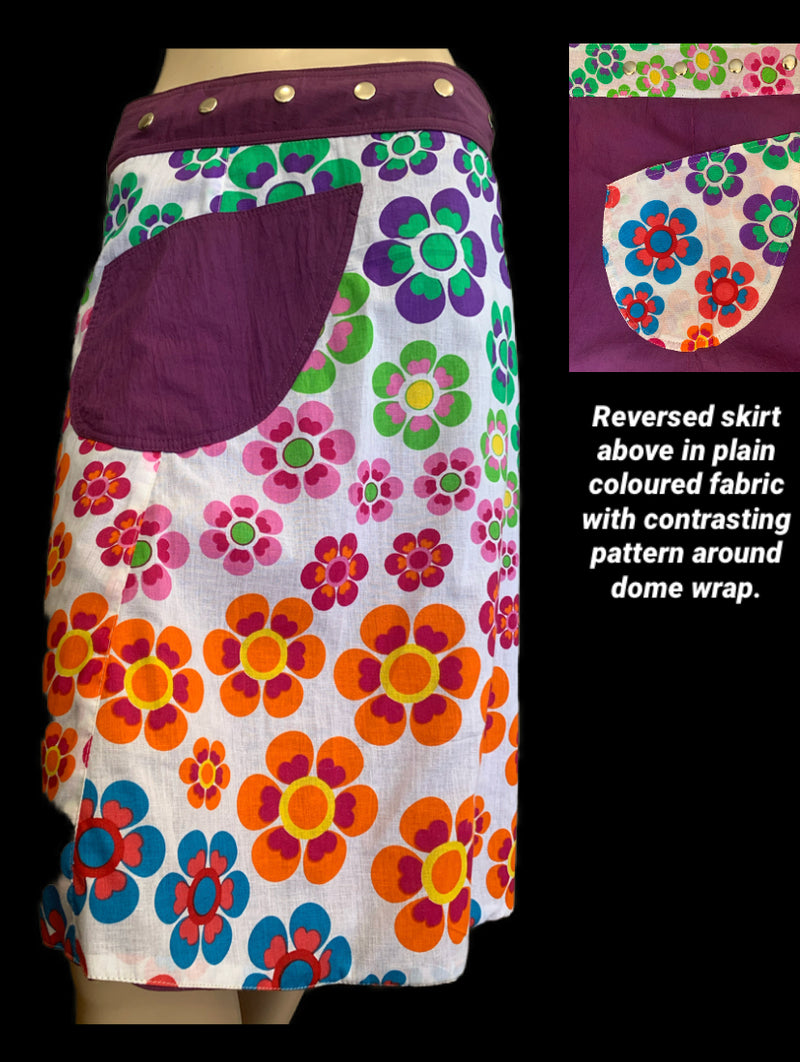 Miss Colourful Daisies Reversible Wrap Skirt - Length 23""