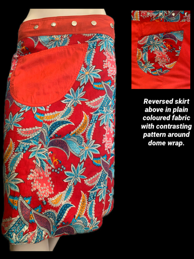 Miss Native Red Reversible Wrap Skirt  - Length 23""