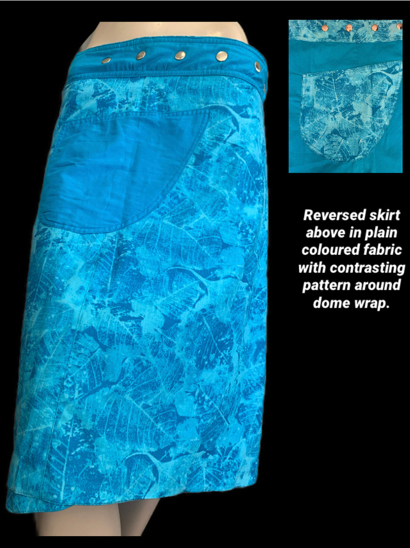 Miss Tie Dye Sky Blue Reversible Wrap Skirt - Length 23""