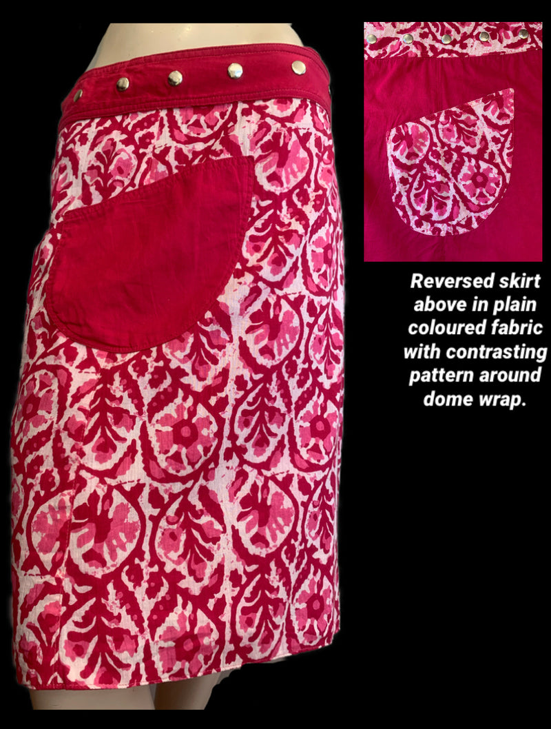 Miss Candy Girl Reversible Wrap Skirt - Length 23""