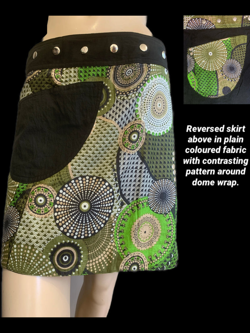 Miss Spiral Khaki Girl Reversible Wrap Skirt - Length 17""