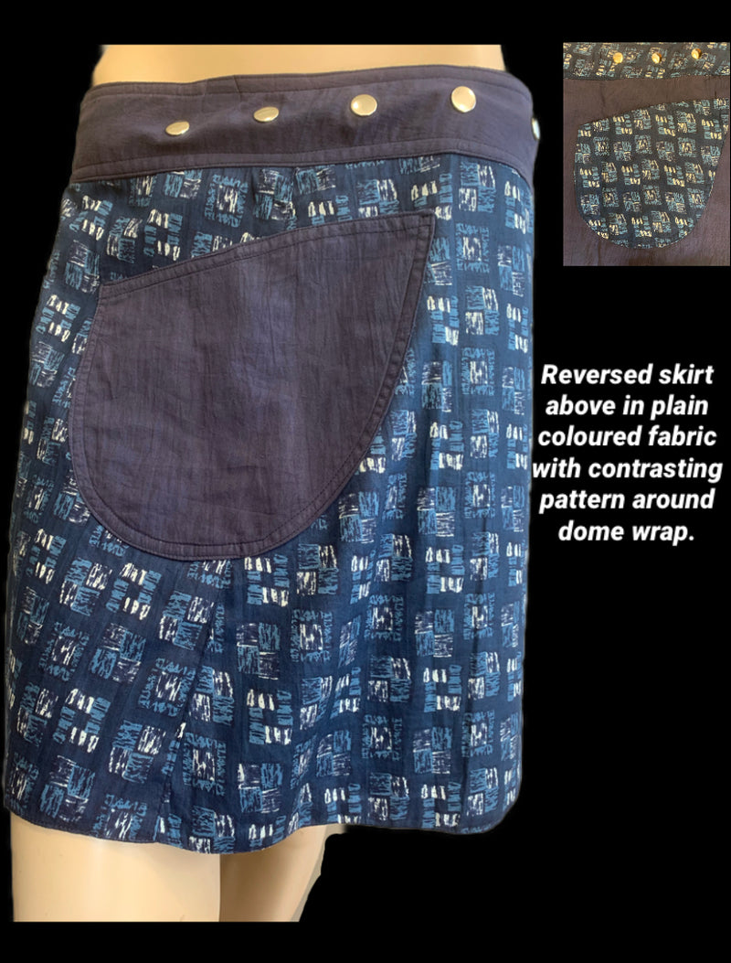 Miss Cube Reversible Wrap Skirt - Length 17""