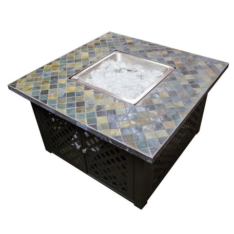 40 in. Square Slate Steel Fire Pit in Mocha