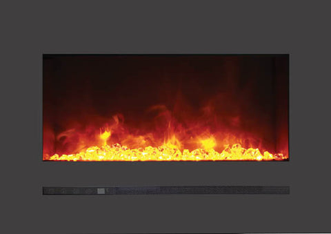 "26"" BUILT-IN/WALL MOUNTED LINEAR BLACK ELECTRIC FIREPLACE (WM-FML-26-3223-STL)"
