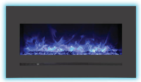"34"" BUILT-IN/WALL MOUNTED LINEAR BLACK ELECTRIC FIREPLACE (WM-FML-34-4023-STL)"