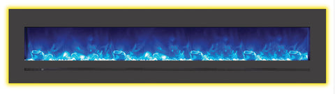 "88"" BUILT-IN/WALL MOUNTED LINEAR BLACK ELECTRIC FIREPLACE (WM-FML-88-9623-STL"