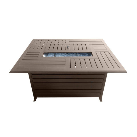 49.5 in. Rectangle Slatted Aluminum Firepit in Bronze