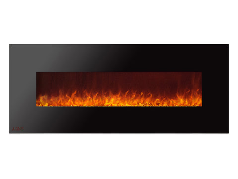 Royal - Wall Mount Electric Fireplace with Crystals - 72 inch
