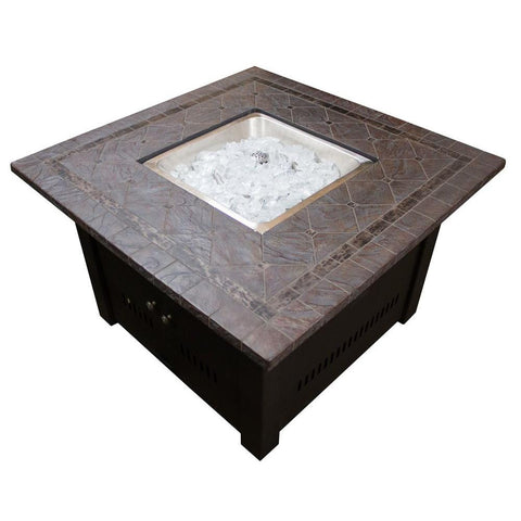 40 in. Faux Stone Square Shaped Steel Fire Pit in Bronze