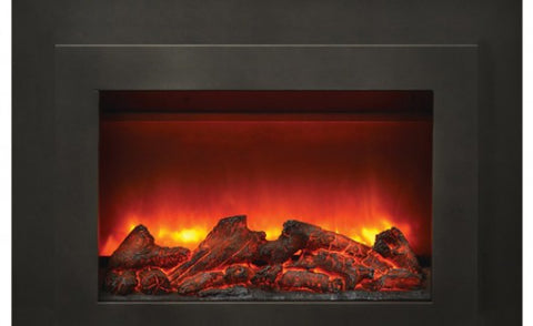 "26"" Insert Electric Fireplace with Black Glass Surround"