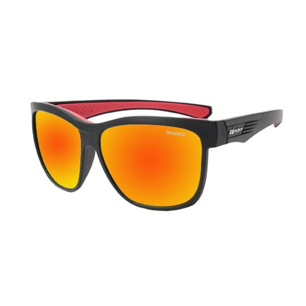 Bomber Sunglasses - Jaco Bomb Matte Black Frm / Red Mirror Polarize Lens / Red Foam