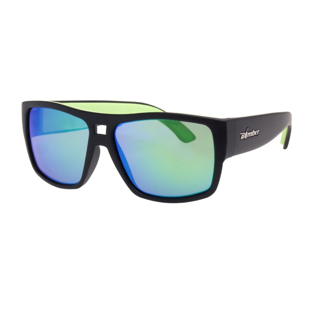 Bomber Sunglasses - Irie Bomb Matte Black Frm / Green Mirror Pc Lens / Green Foam