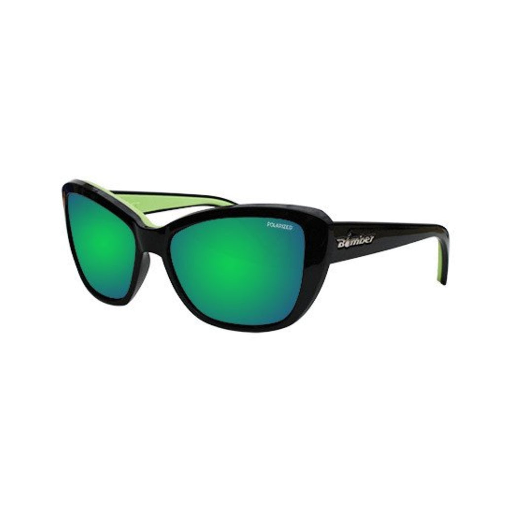 Bomber Sunglasses - Labomba Glossy Black Frm / Green Mirror Polarize Lens / Green Foam
