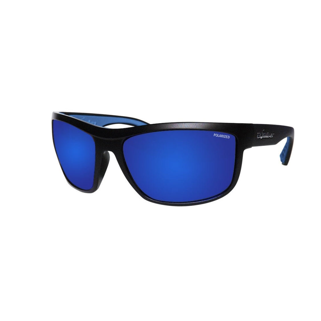 Bomber Sunglasses - Hub Bomb Matte Black Frm / Blue Mirror Polarized Lens / Blue Foam