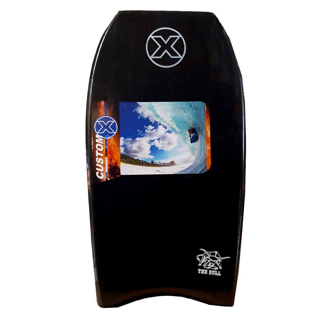Custom X Bull PE Crescent Tail Bodyboard - Black deck, White rails, White bottom