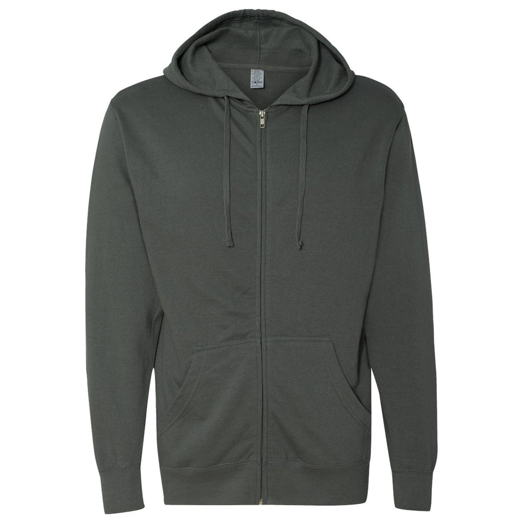 S&S Lightweight Full-Zip Hooded Sweatshirt- Black Heather