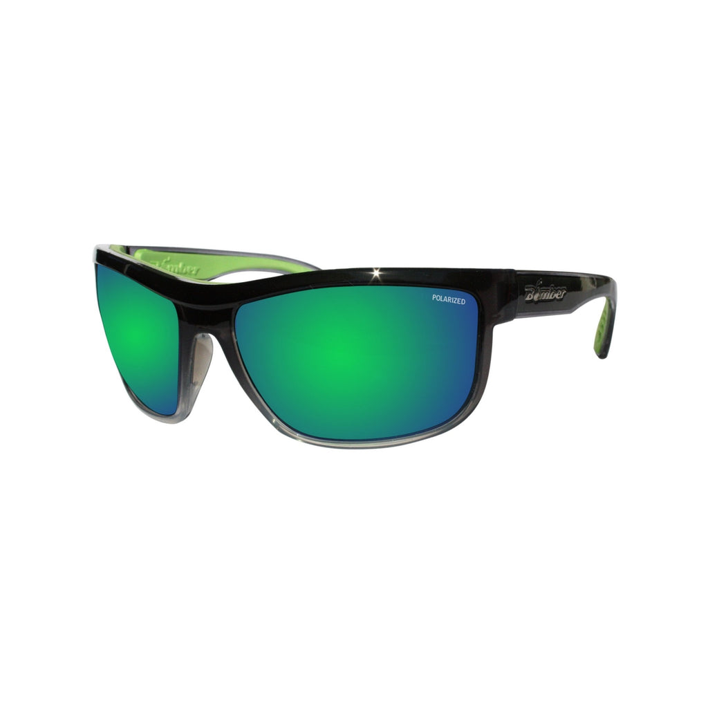 Bomber Sunglasses - Hub Bomb 2 Tone Smoke Frm / Green Mirror Polarized Lens / Green Foam