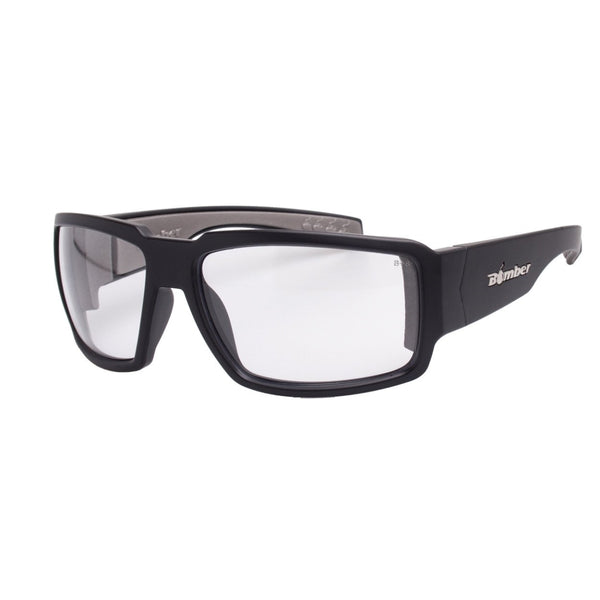Bomber Sunglasses - Boogie Bomb Matte Black Frm / Clear ANSI Z87+ safety Lens / Gray Foam
