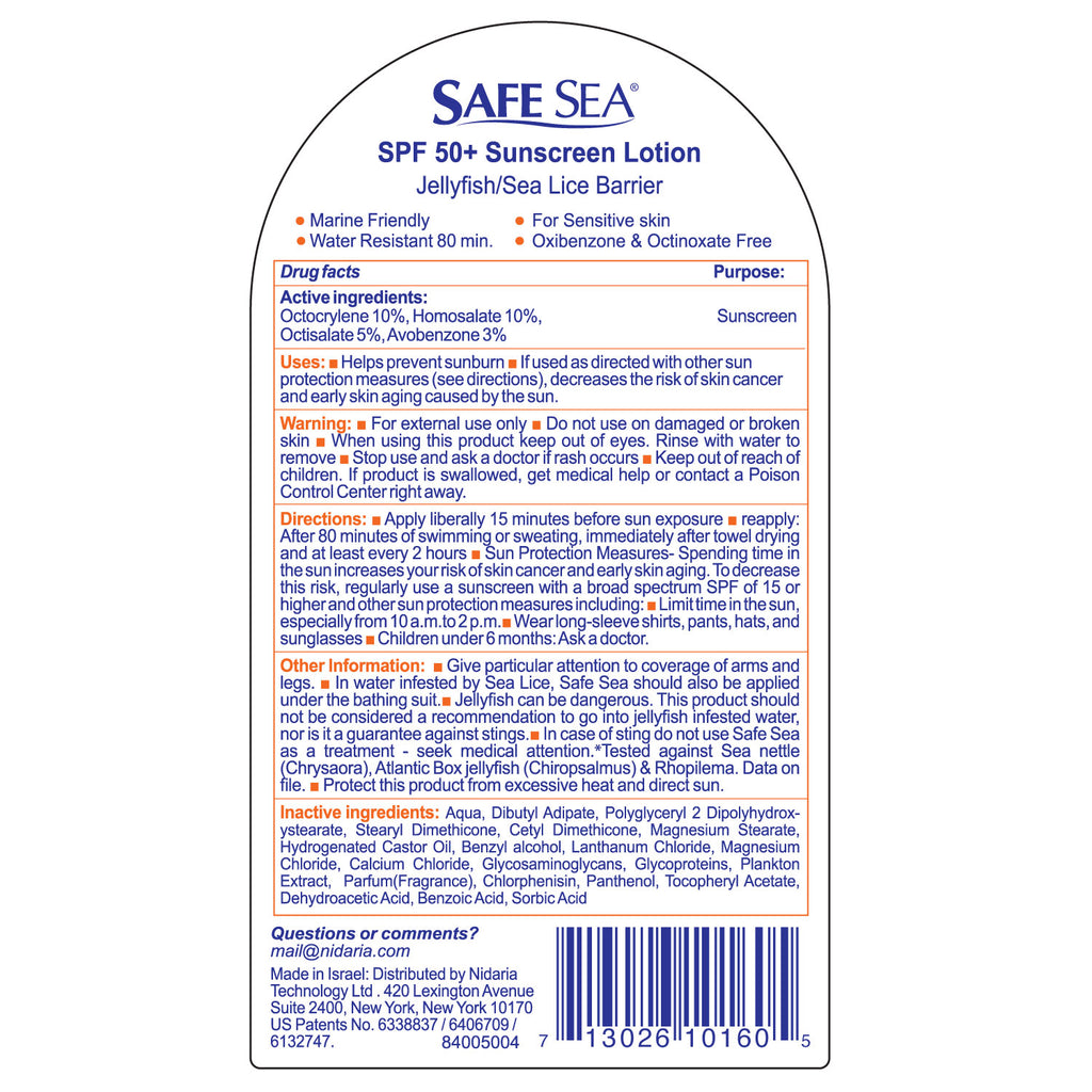 Safe Sea SPF50 Sunscreen Lotion with Sea Lice and Jelly Fish Sting Protection (6 pack)