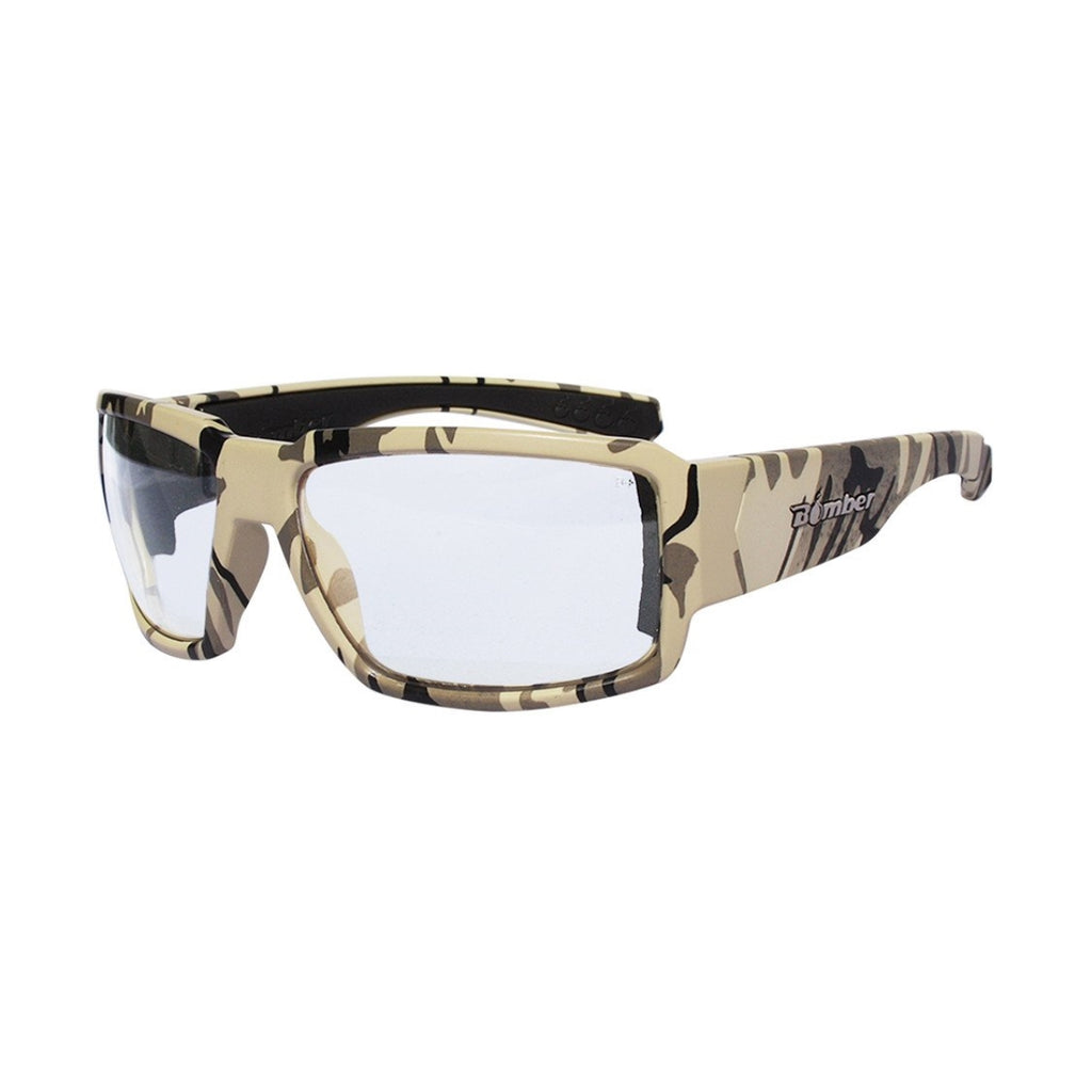 Bomber Sunglasses - Boogie Bomb Sand Camo Frm / Clear ANSI Z87+ safety Lens / Black Foam