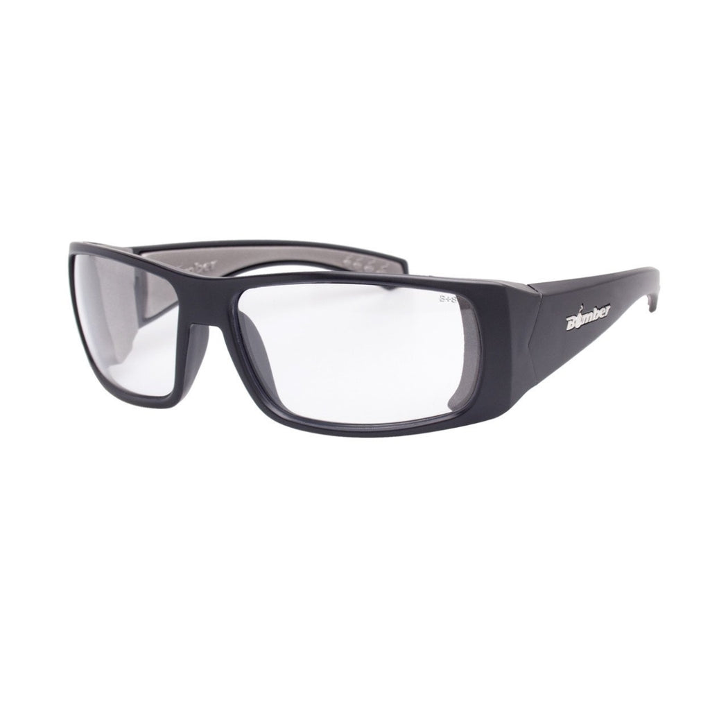 Bomber Sunglasses - Pipe Bomb Matte Black Frm / Clear Pc Safety Lens / Gray Foam