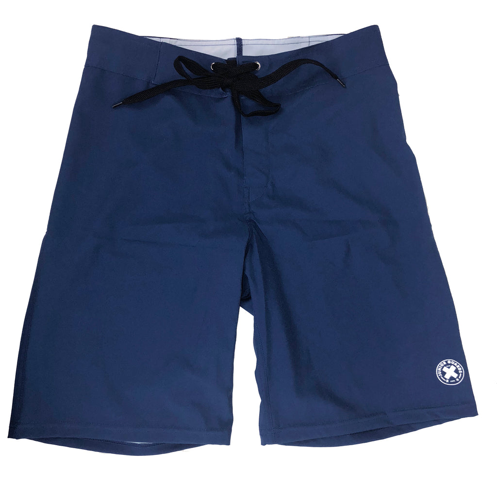 Boys and Mens Junior Guard Boardshort Swim Trunks - Navy and Red