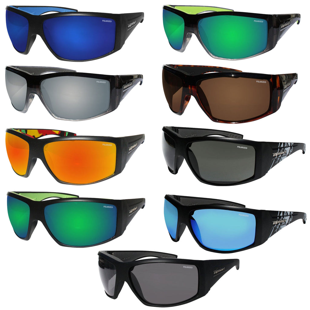 Bomber Sunglasses - Ahi Bomb Matte Black Frm / Ice Blue Polarized Lens / Gray Foam