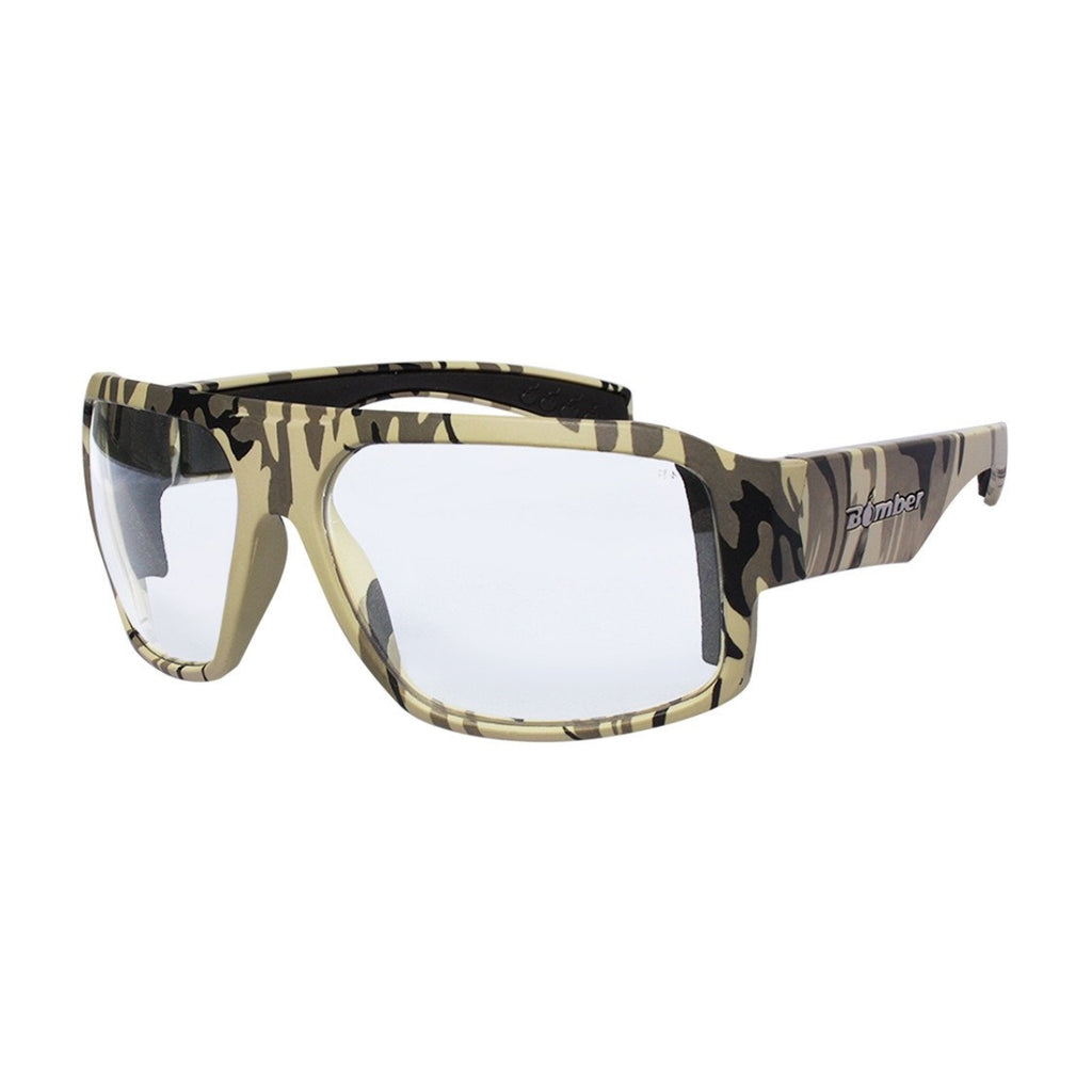 Bomber Sunglasses - Mega Bomb Sand Camo Frm / Clear Pc Safety Lens / Black Foam