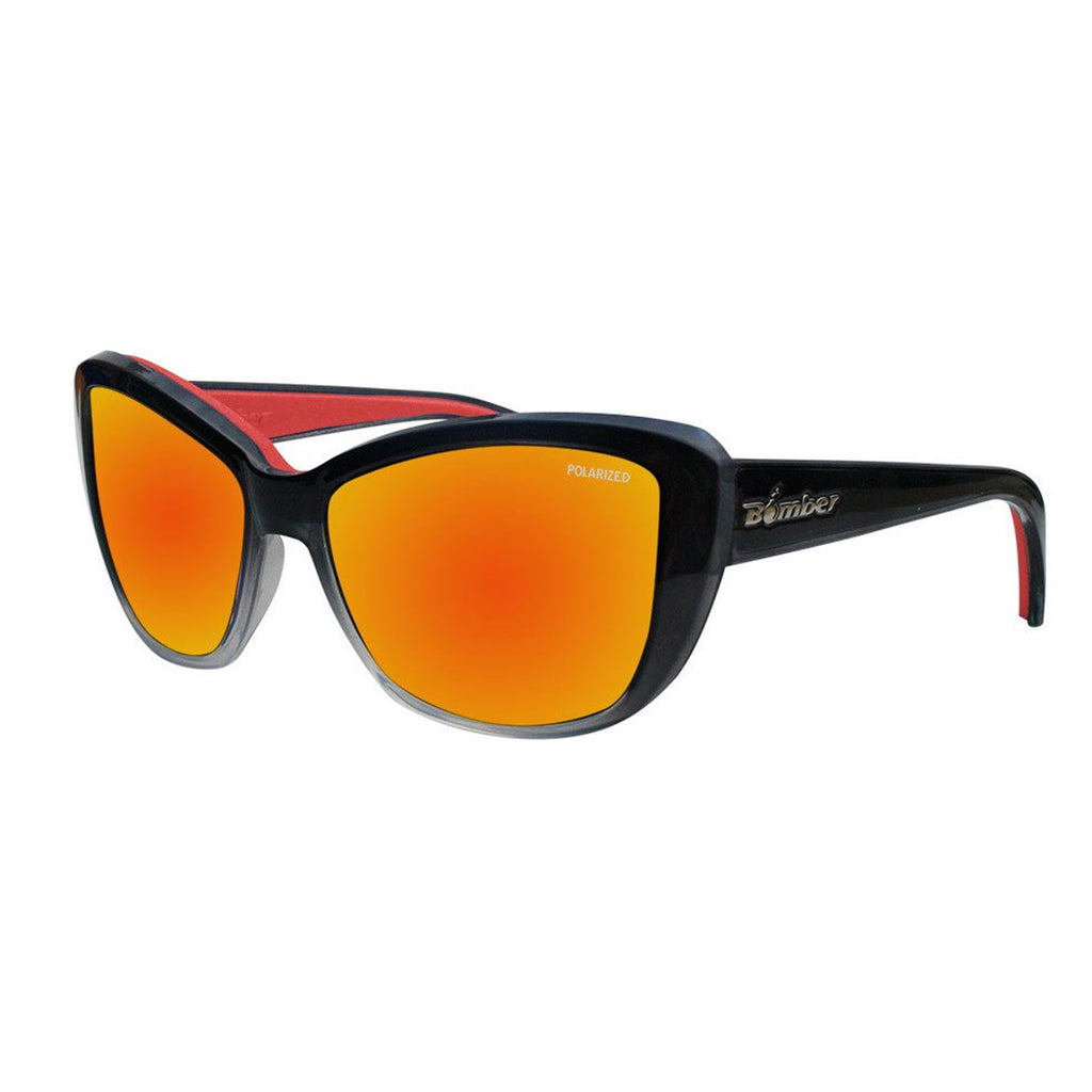 Bomber Sunglasses - Labomba 2 Tone Smoke Frm / Red Mirror Polarized Lens / Red Foam