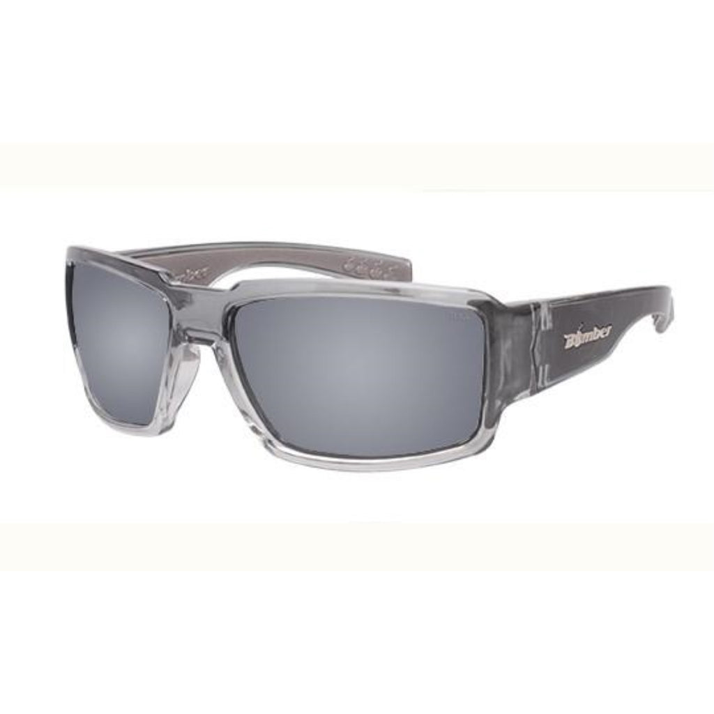 Bomber Sunglasses - Boogie Bomb 2 Tn Crystal Smoke Frm / Silver Mirror ANSI Z87+ safety Lens / Gray Foam