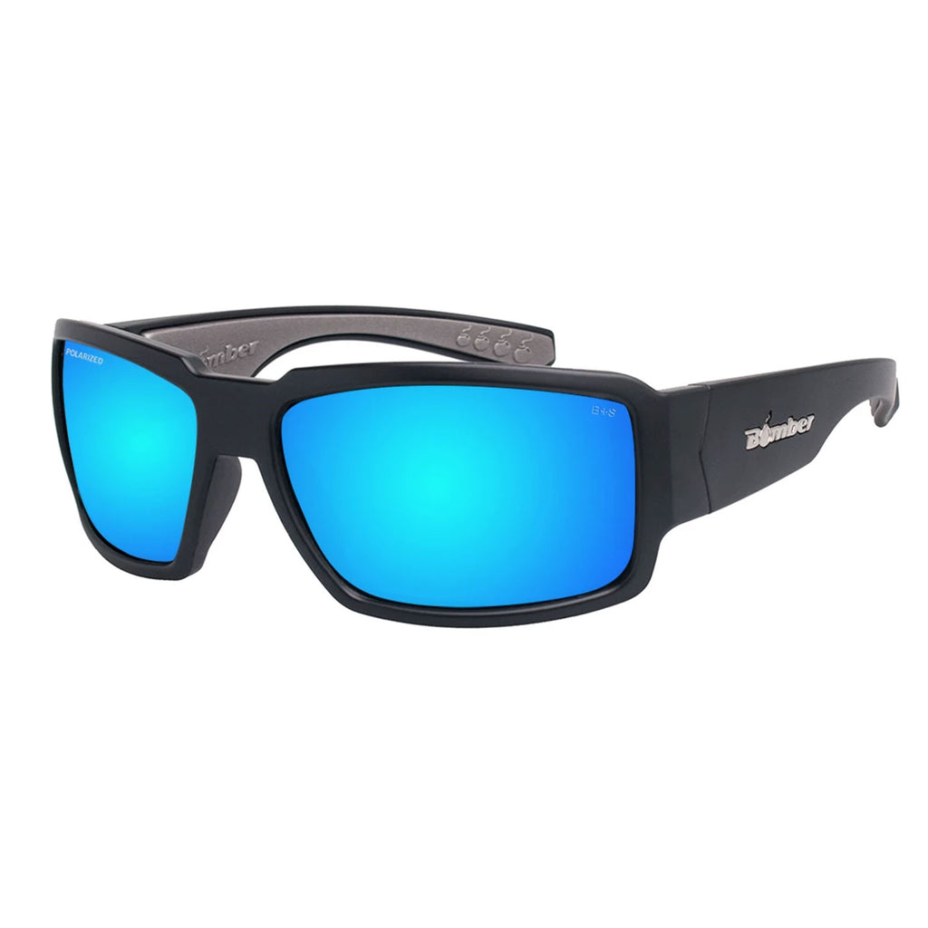 Bomber Sunglasses Boogie Bomb Matte Black Frm / Red Mirror Polarized Saftey Lens / Gray Foam / Mana Graphics