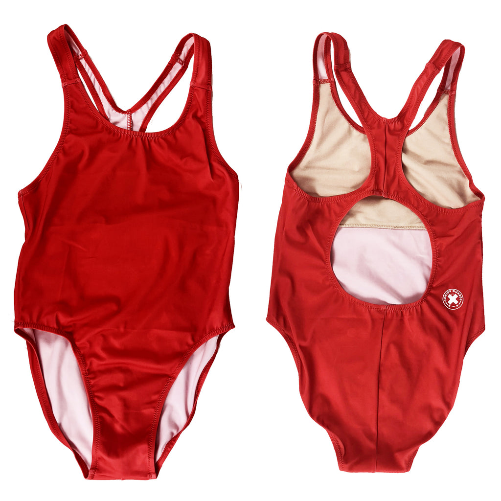 Junior Guard Girls One-Piece Swimsuit - Red - 14