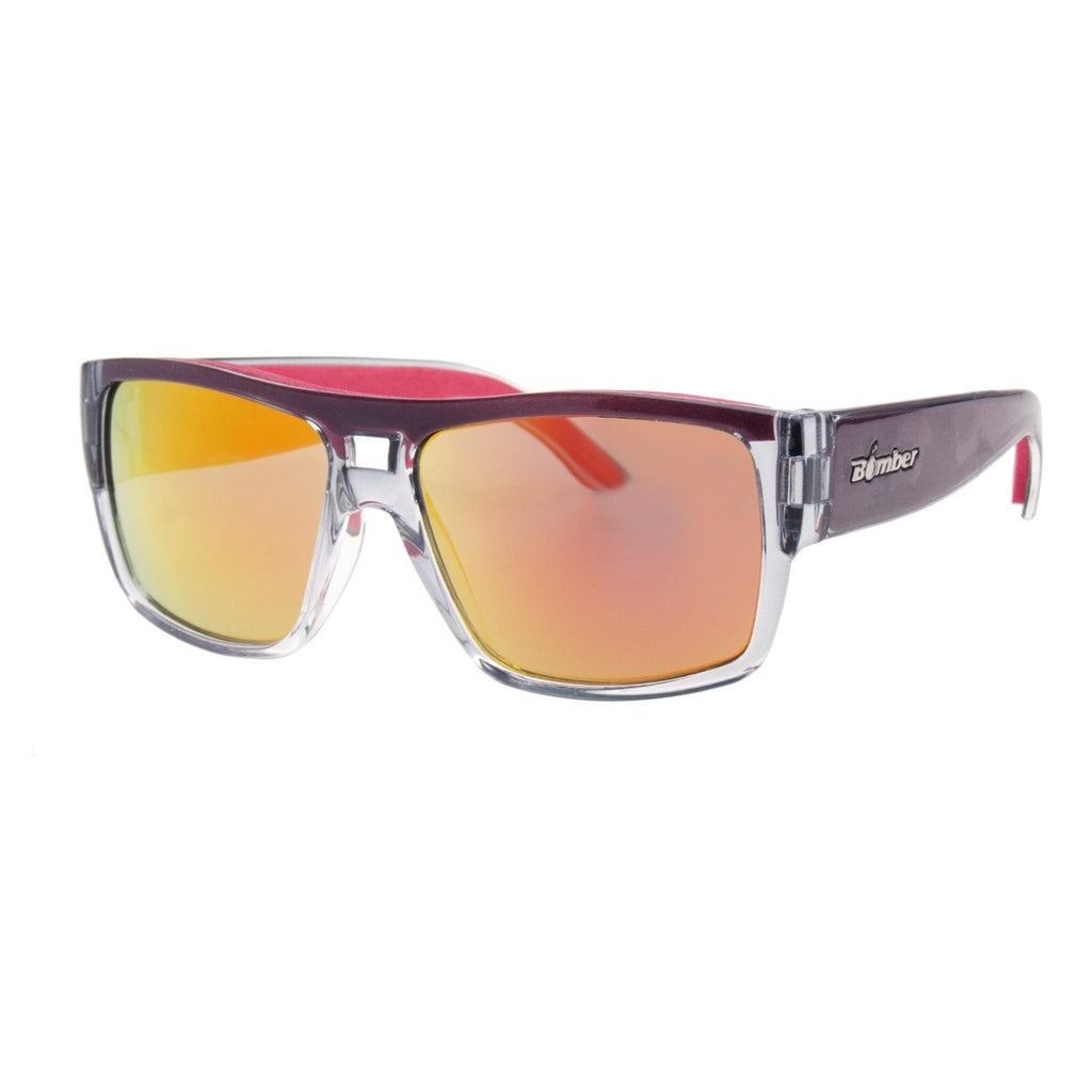 Bomber Sunglasses - Irie Bomb 2 Tone Crystal Smoke / Red Mirror Pc Lens / Red Foam