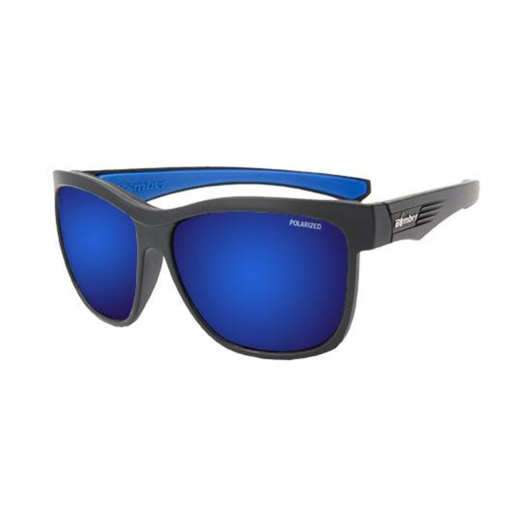 Bomber Sunglasses - Jaco Bomb Matte Black Frm / Blue Mirror Polarize Lens / Blue Foam