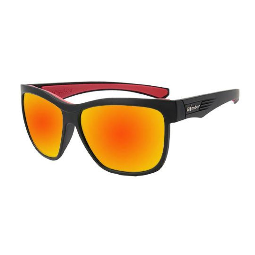 Bomber Sunglasses - Jaco Bomb Matte Black Frm / Red Mirror Pc Lens / Red Foam