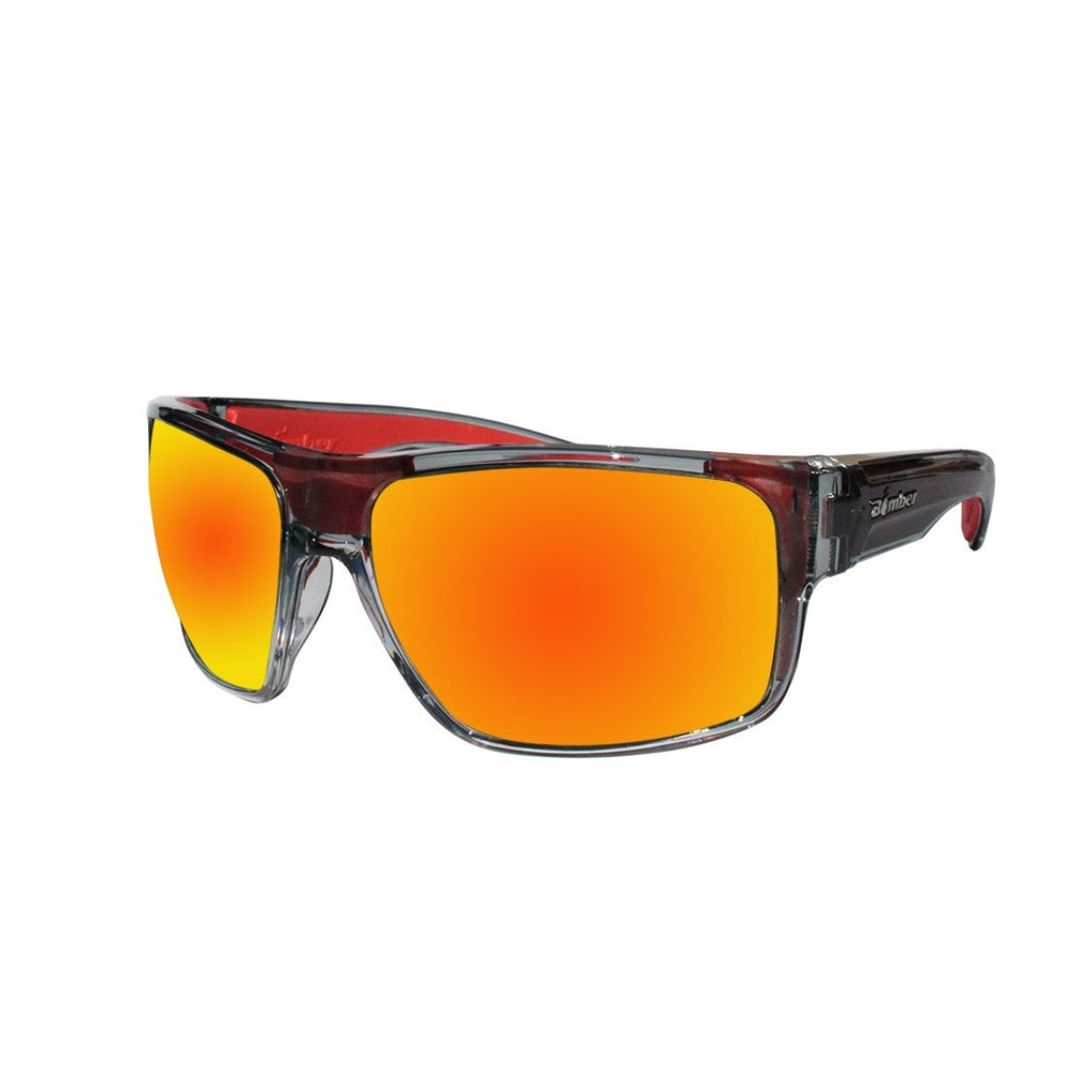 Bomber Sunglasses - Mana Bomb 2 Tn Crystal Smk Frm / Red Mirror Pc Safety Lens / Red Foam