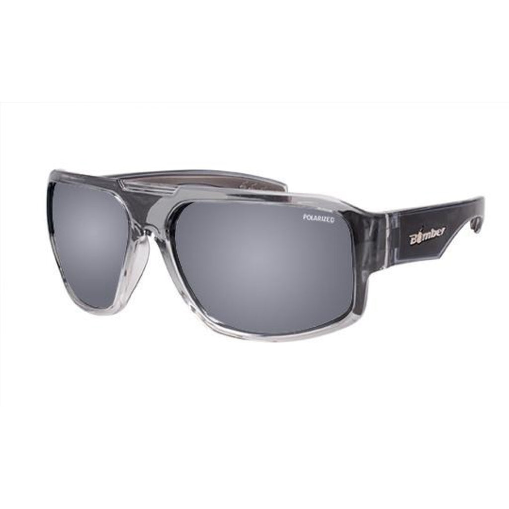 Bomber Sunglasses - Mega Bomb 2 Tn Crystal Smoke Frm / Silver Mirror Pc Safety Lens / Gray Foam