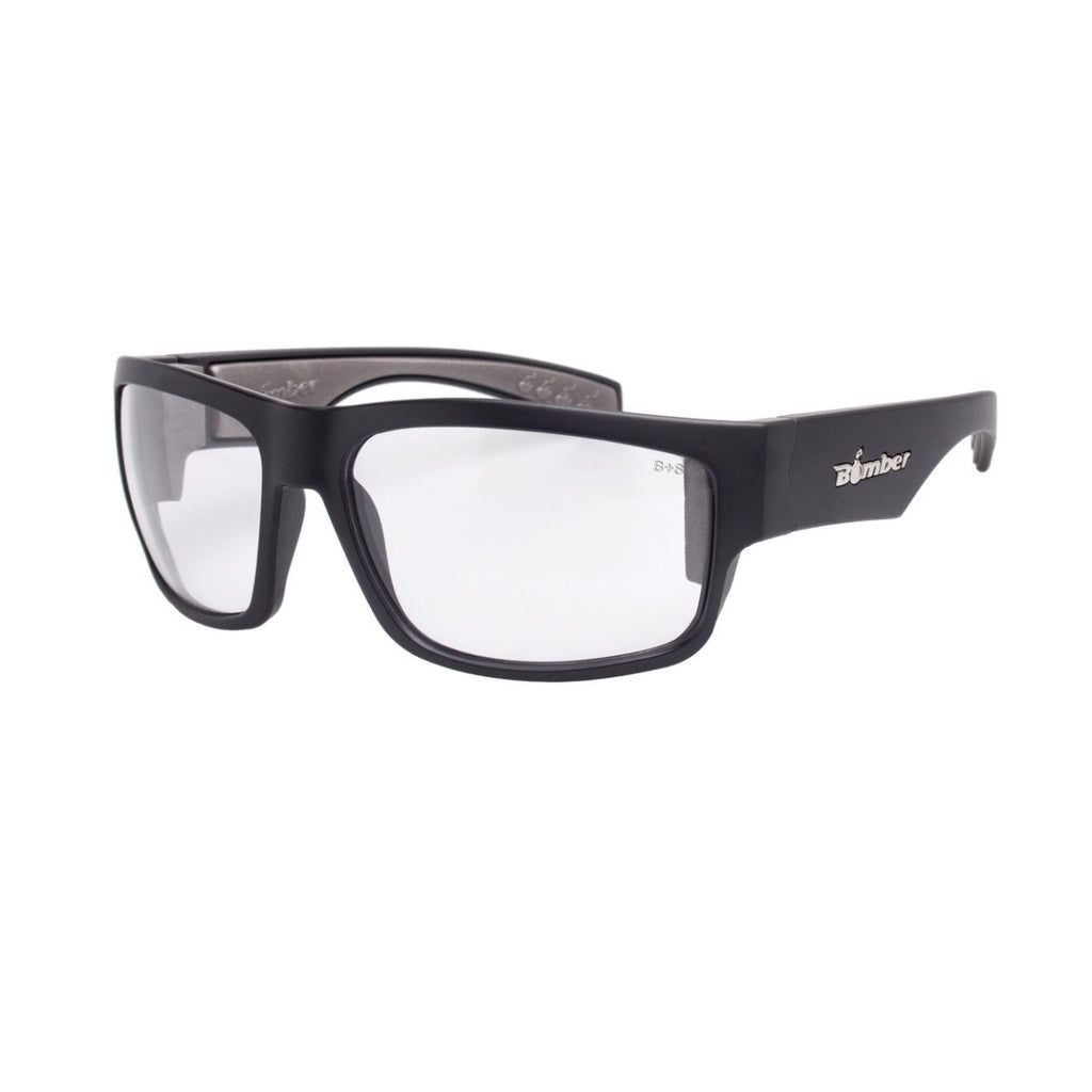 Bomber Sunglasses - Tiger Bomb Matte Black Frm / Clear Pc Safety Lens / Gray Foam