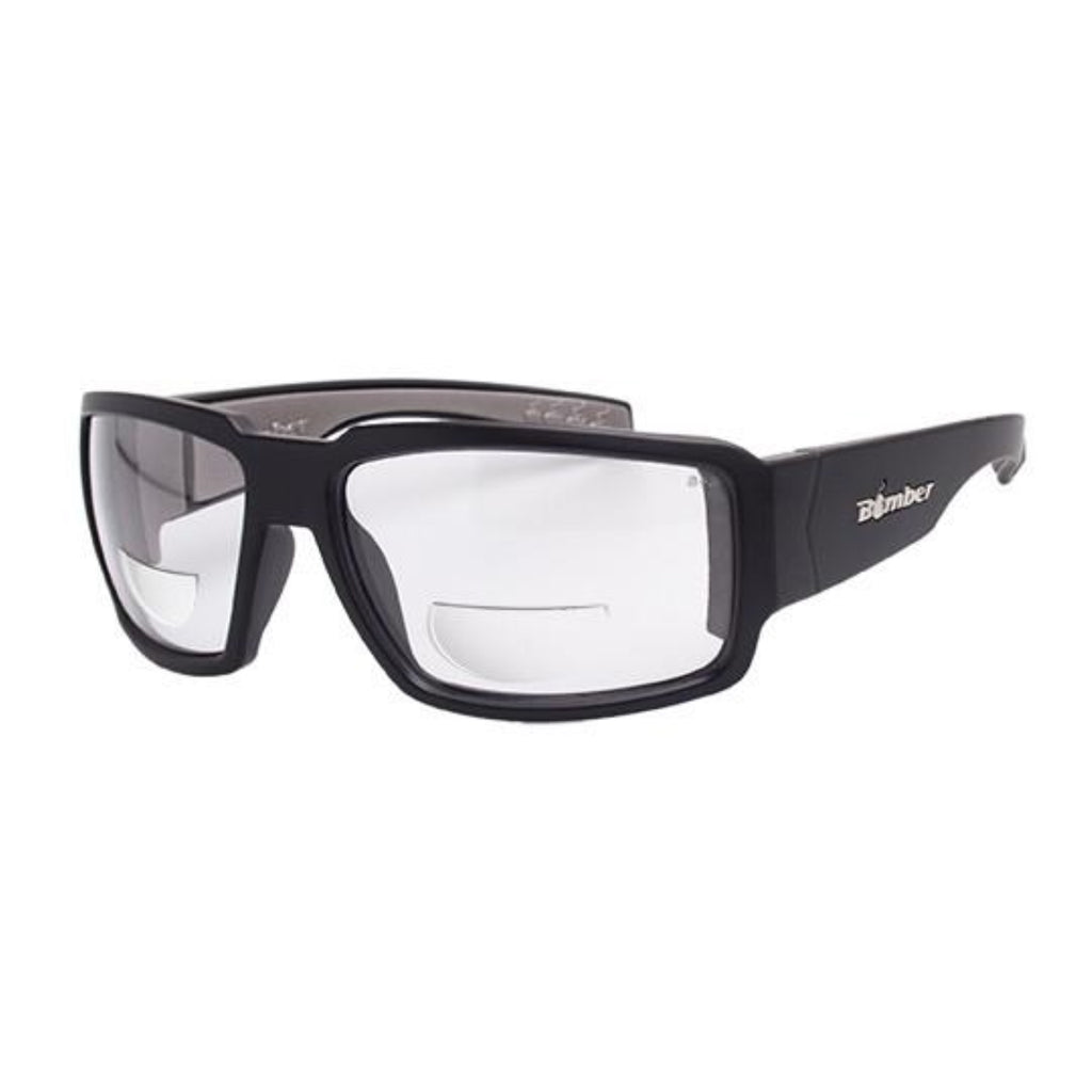 Bomber Sunglasses - Boogie Bomb ANSI Z87+ safety Matte Black Frm / Clear 2.0 Bi Focal Lens / Gray Foam