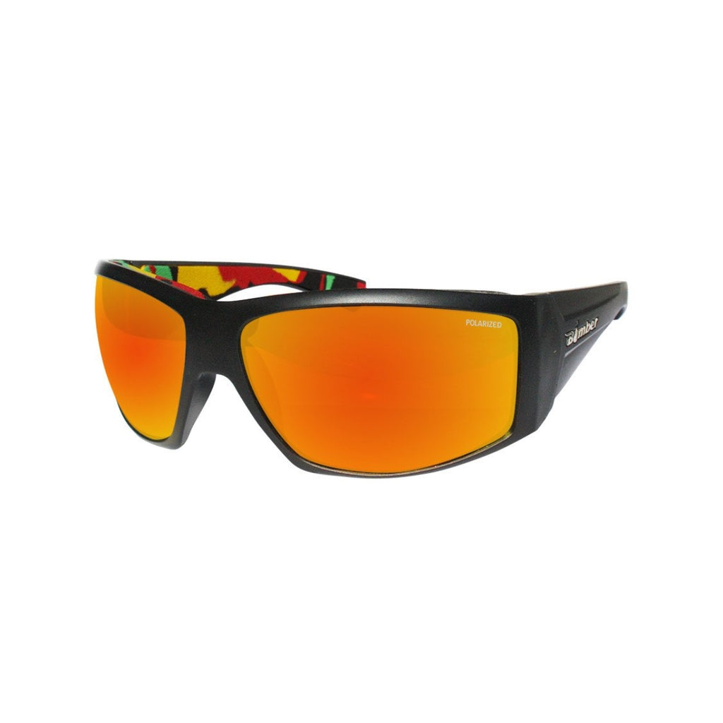 Bomber Sunglasses - Ahi Bomb Matte Black Frm / Red Mirror Polarized Lens / Rasta Foam